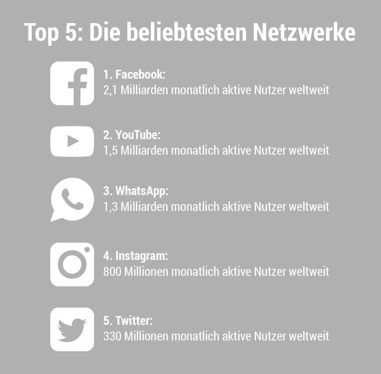 Top 5: Die beliebtesten Netzwerke