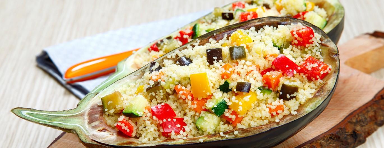 Bild zum Beitrag 'Auberginen mit Couscous-Gemüse-Füllung'